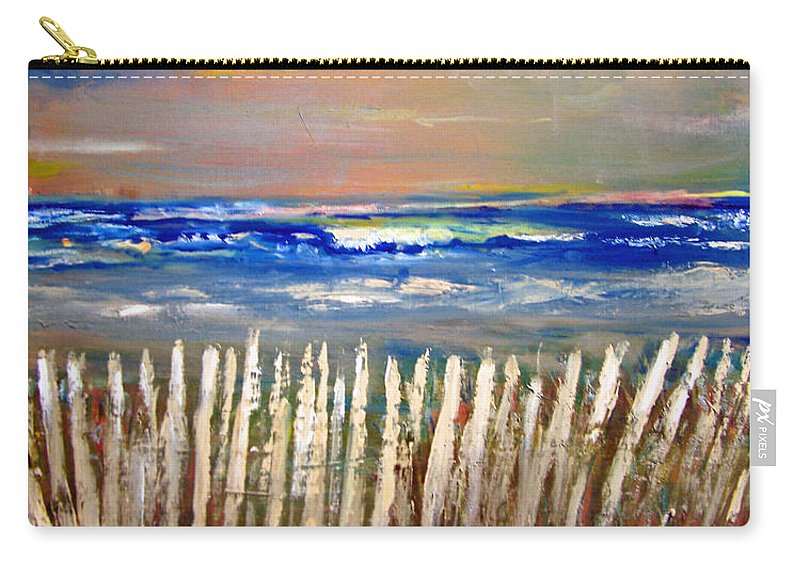 Fence Carry-all Pouch featuring the painting Beach Fence by Patricia Taylor