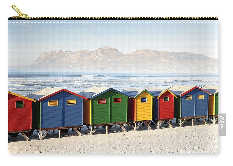 Beach Carry-all Pouch featuring the photograph Beach Huts At Muizenberg by Neil Overy