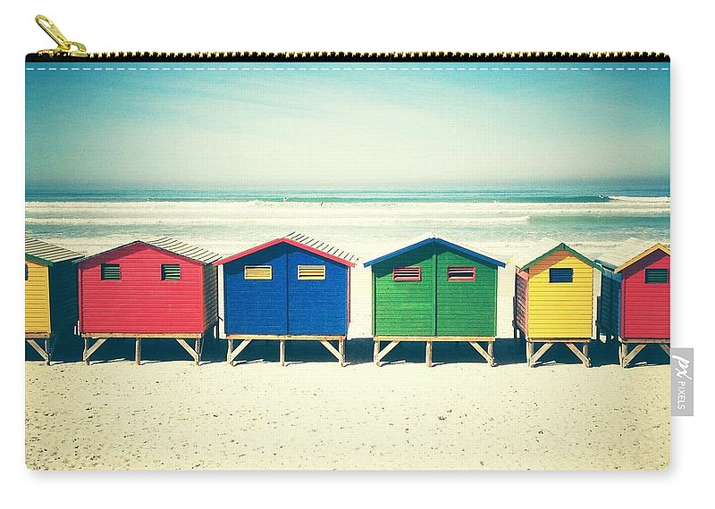 Beach Huts Carry-all Pouch featuring the photograph Beach Huts Muizenberg Retro by Neil Overy