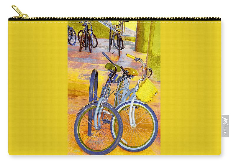 Bicycle Carry-all Pouch featuring the photograph Beach Parking For Bikes by Ben and Raisa Gertsberg
