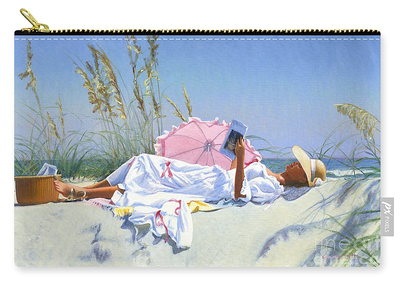 Impressionist Carry-all Pouch featuring the painting Beach Recliner by Candace Lovely