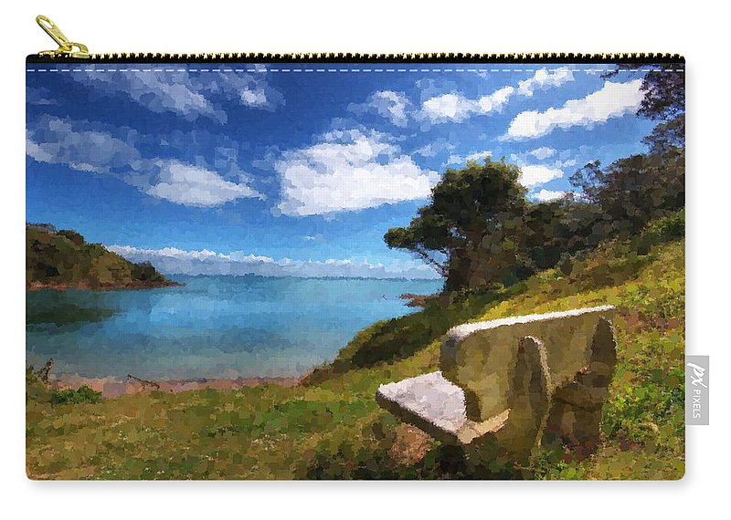 Beach Carry-all Pouch featuring the painting Beach by Samuel Majcen