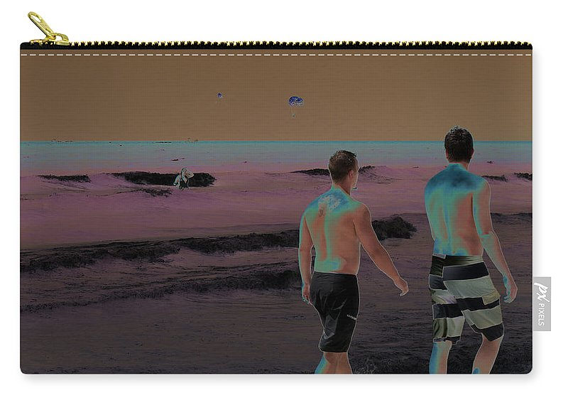 Horizontal Carry-all Pouch featuring the photograph Beach Solar Series Xi Woman Swimming Usa by Sally Rockefeller