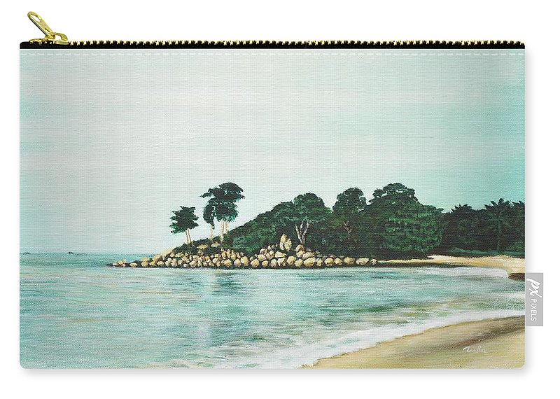 Beach Carry-all Pouch featuring the painting Beach by Usha Shantharam