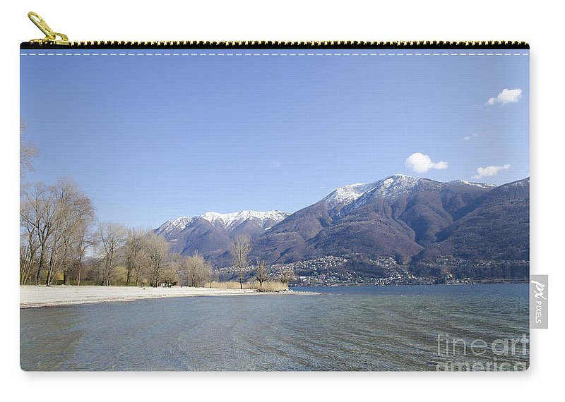 Beach Carry-all Pouch featuring the photograph Beach With Mountain by Mats Silvan