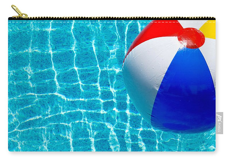 Ball Carry-all Pouch featuring the photograph Beachball On Pool by Amy Cicconi
