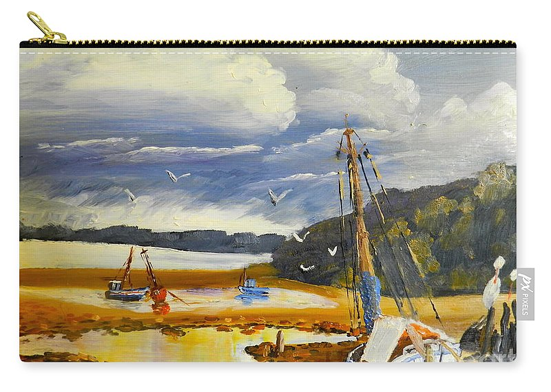 Impressionism Carry-all Pouch featuring the painting Beached Boat And Fishing Boat At Gippsland Lake by Pamela Meredith