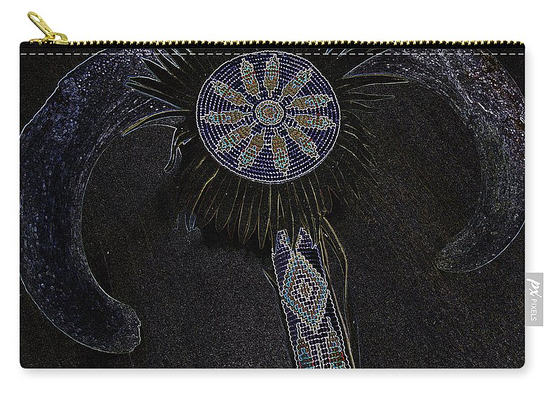 Native American Carry-all Pouch featuring the digital art Beaded Staff 4 by Lovina Wright