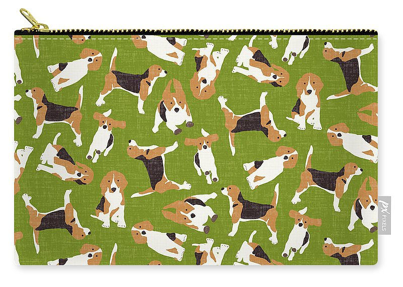 Beagle Carry-all Pouch featuring the drawing Beagle Scatter Green by MGL Meiklejohn Graphics Licensing
