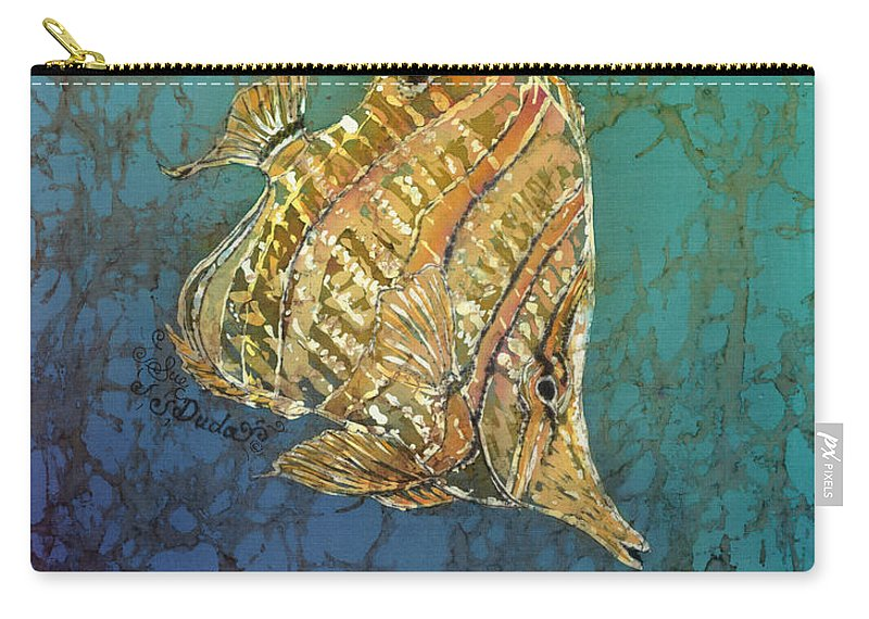 Fish Carry-all Pouch featuring the painting Beaked Butterflyfish by Sue Duda