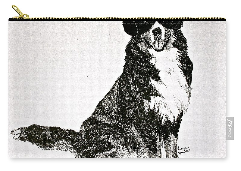 Bernese Mountain Dog Carry-all Pouch featuring the drawing Beaming Berner by Susan Herber