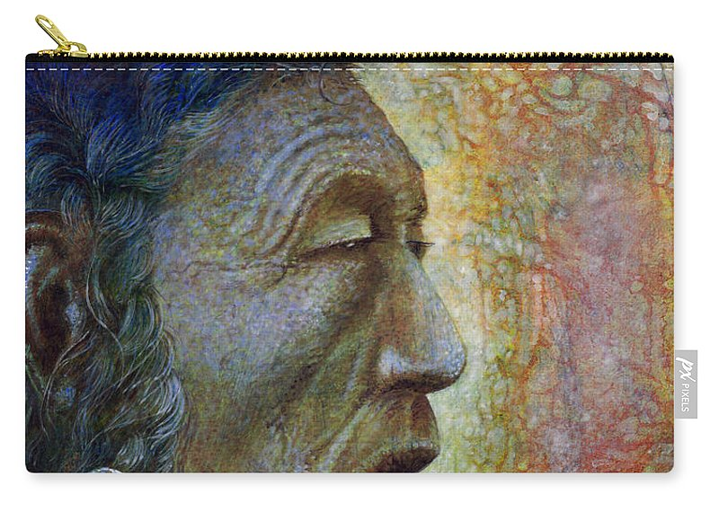 Bear Bull Carry-all Pouch featuring the painting Bear Bull Shaman by Otto Rapp