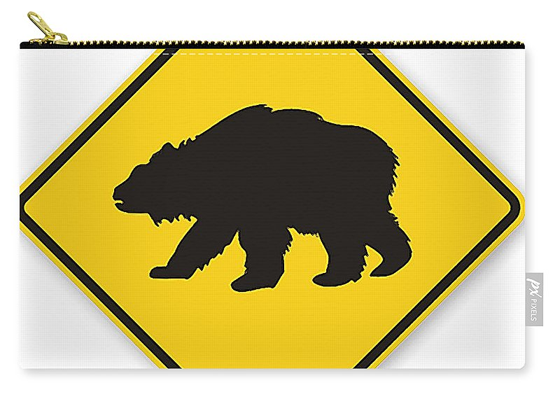 Bear Crossing Sign Carry-all Pouch featuring the digital art Bear Crossing Sign by Marvin Blaine