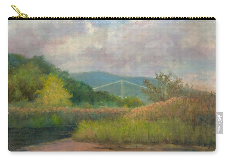 Bear Mountain Bridge Carry-all Pouch featuring the painting Bear Mountain Bridge From Iona Marsh by Phyllis Tarlow