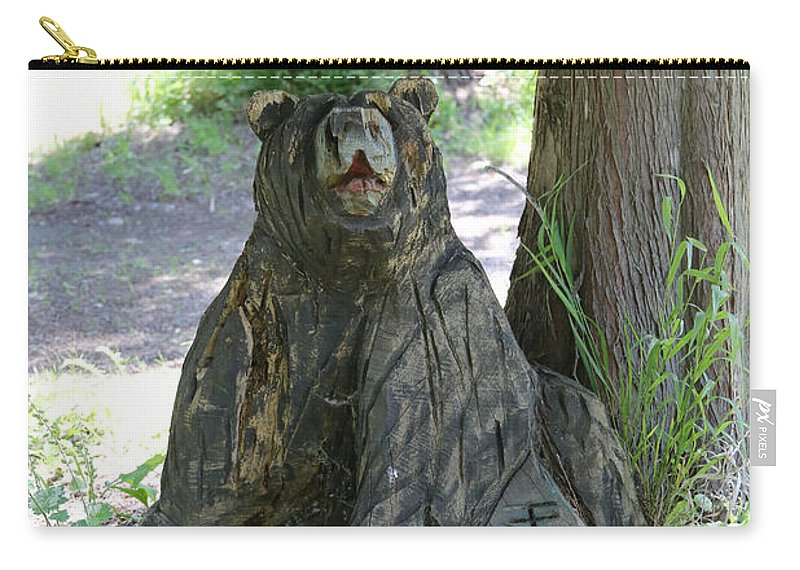 Bear Carving Carry-all Pouch featuring the photograph Bear In A Tree by Carol Groenen