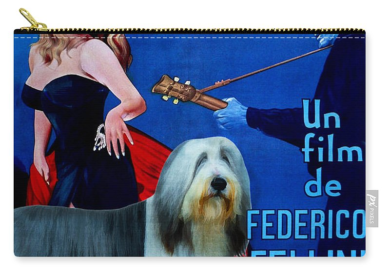 Bearded Collie Carry-all Pouch featuring the painting Bearded Collie Art Canvas Print - La Dolce Vita Movie Poster by Sandra Sij