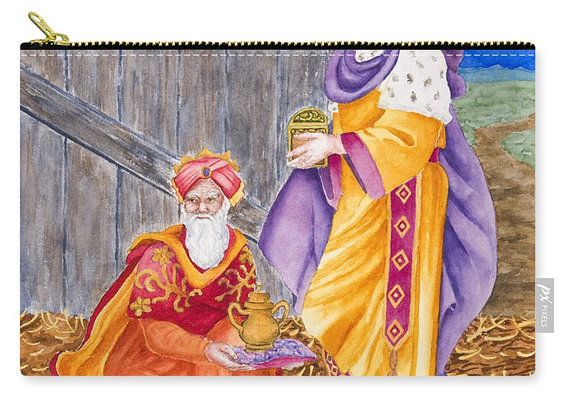 Wiseman Carry-all Pouch featuring the painting Bearing Gifts by Rhonda Leonard