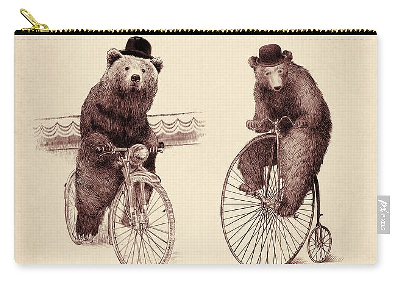 Bear Carry-all Pouch featuring the digital art Bears on Bicycles by Eric Fan