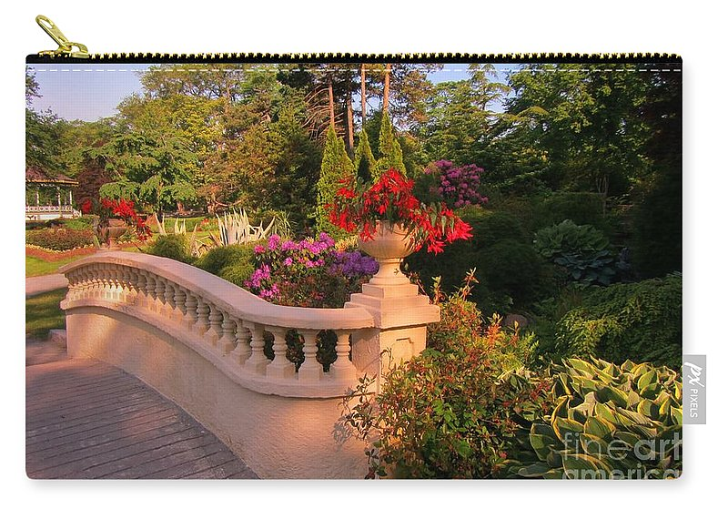 Balustrade Fence Carry-all Pouch featuring the painting Beautiful Balustrade Fence In Halifax Public Gardens by John Malone
