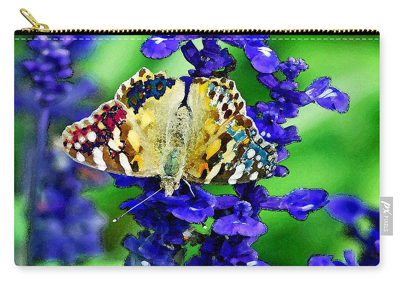 Augusta Stylianou Carry-all Pouch featuring the digital art Beautiful Butterfly On A Flower by Augusta Stylianou