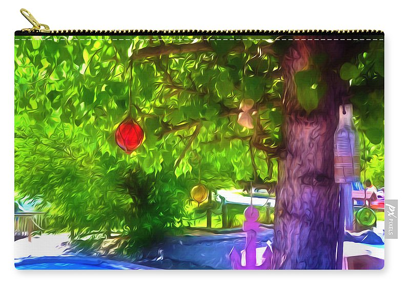 Beautiful Colored Glass Ball Hanging On Tree Carry-all Pouch featuring the painting Beautiful Colored Glass Ball Hanging On Tree 1 by Jeelan Clark