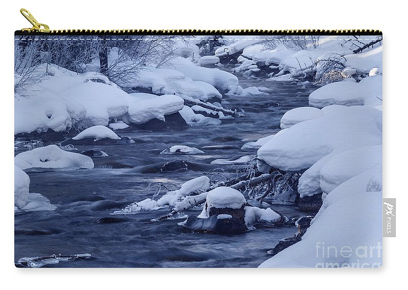 Winter Carry-all Pouch featuring the photograph Beautiful Creek In Winter In Stanley Idaho by Vishwanath Bhat
