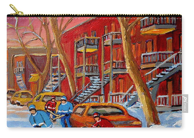Carry-all Pouch featuring the painting Beautiful Day For Hockey by Carole Spandau
