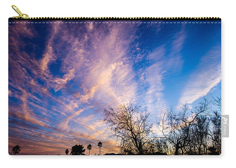 Tucson Carry-all Pouch featuring the photograph Beautiful Morning Sunrise Clouds Across The Sky by Michael Moriarty