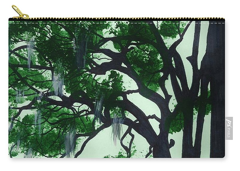Oak Carry-all Pouch featuring the drawing Beautiful Oak Trees by D Hackett