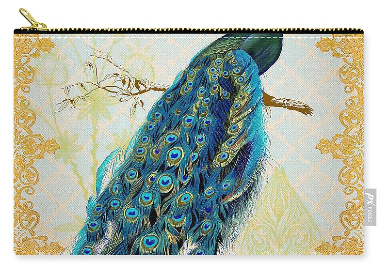 Jean Plout Carry-all Pouch featuring the painting Beautiful Peacock-a by Jean Plout