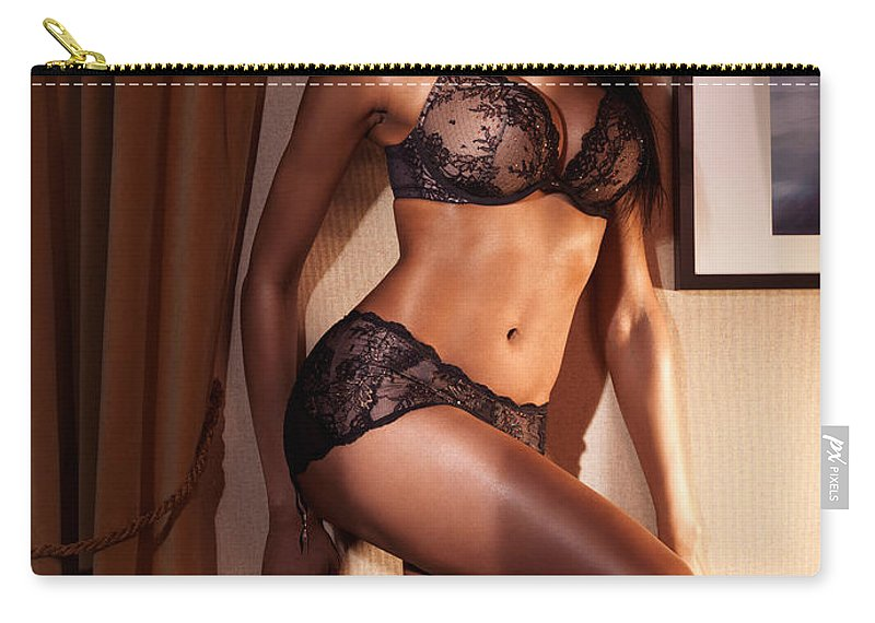Glamour Carry-all Pouch featuring the photograph Beautiful Sexy Woman In Black Lingerie by Maxim Images Prints