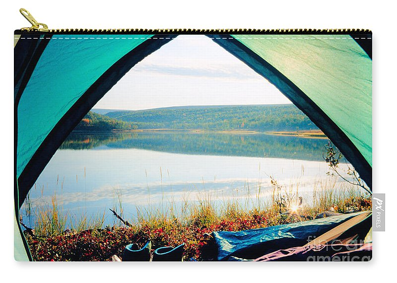 Beautiful Carry-all Pouch featuring the photograph Beautiful View Of Calm Lake Looking Out Of Tent by Stephan Pietzko