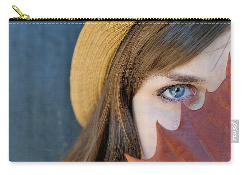 Women Carry-all Pouch featuring the photograph Young Woman And Leaf by Patrick Herrera
