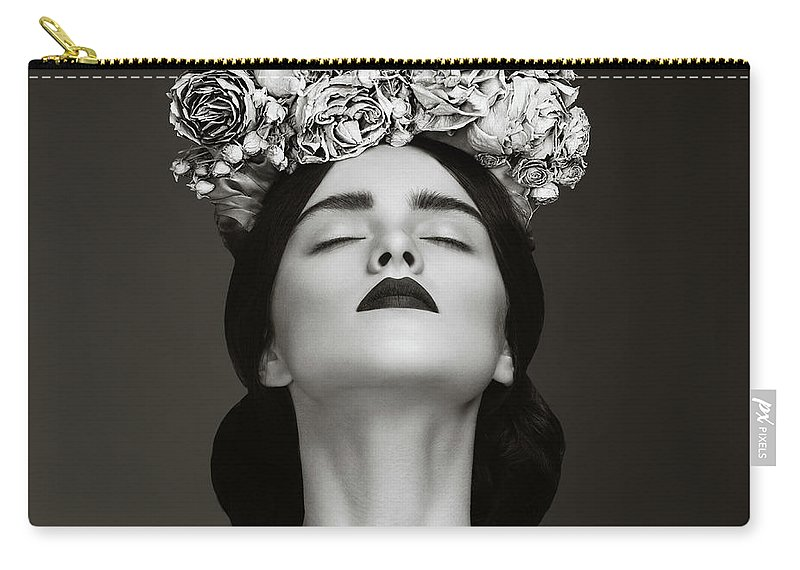 Crown Carry-all Pouch featuring the photograph Beautiful Woman With Wreath Of Flowers by Lambada
