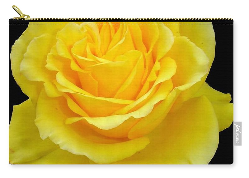 Beautiful Yellow Rose Flower On Black Background Carry All Pouch For