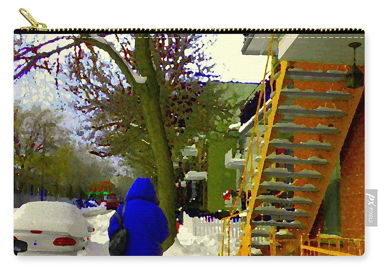 Montreal Carry-all Pouch featuring the painting Beautiful Yellow Staircase Verdun Snow Scene Montreal Art Colors Of Quebec Carole Spandau by Carole Spandau