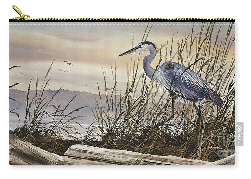 Heron Fine Art Prints Carry-all Pouch featuring the painting Beauty Along The Shore by James Williamson