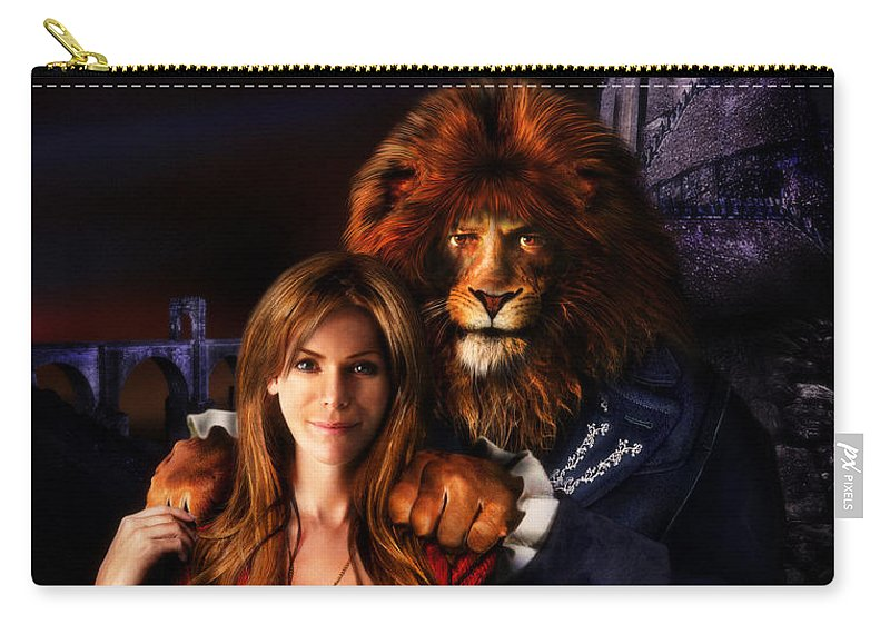 Beauty And The Beast Carry-all Pouch featuring the digital art Beauty And The Beast by Alessandro Della Pietra