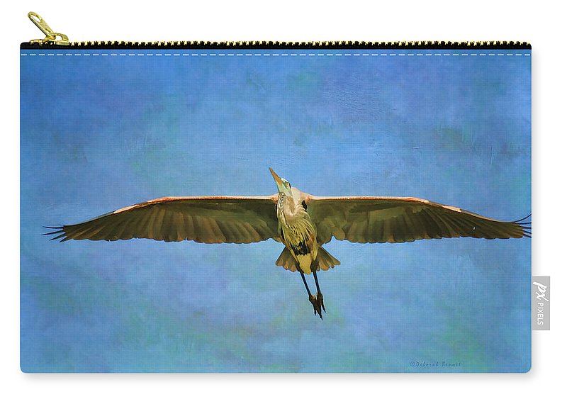 Blue Heron Carry-all Pouch featuring the photograph Beauty Of Flight Textured by Deborah Benoit