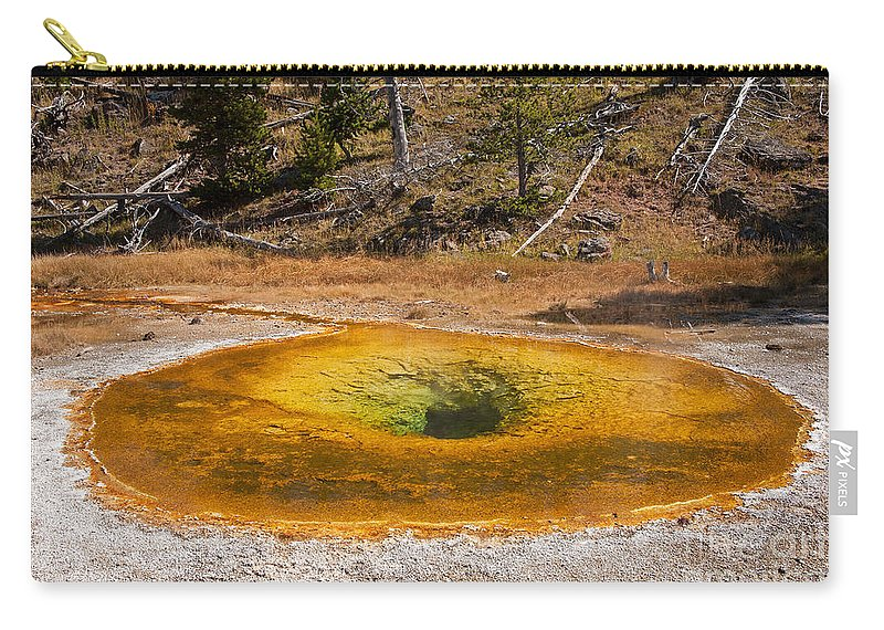 Beauty Pool Carry-all Pouch featuring the photograph Beauty Pool In Upper Geyser Basin In Yellowstone National Park by Fred Stearns