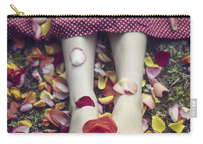 Woman Carry-all Pouch featuring the photograph Bedded In Petals by Joana Kruse