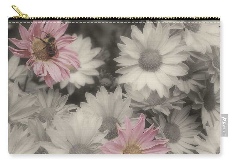 Flowers Carry-all Pouch featuring the photograph Bee And Daisies In Partial Color by Smilin Eyes Treasures
