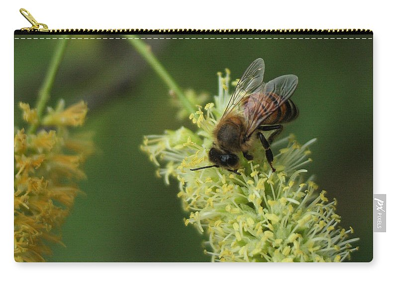 Bee Carry-all Pouch featuring the photograph Bee Duty by Valerie Loop