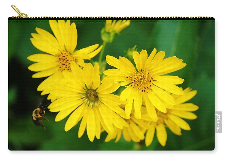 Bee Carry-all Pouch featuring the photograph Bee Flower by Dan Young
