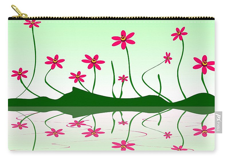 Abstract Carry-all Pouch featuring the digital art Bee Flowers by Anastasiya Malakhova