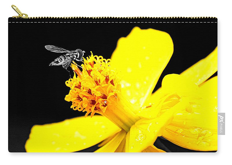 Bee Carry-all Pouch featuring the photograph Bee In Black And White by Paul Wilford
