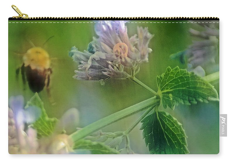 Bee Carry-all Pouch featuring the photograph Bee In Catmint by Photographic Arts And Design Studio