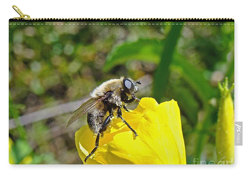 Fly Carry-all Pouch featuring the photograph Bee Mimic On Primrose by Mother Nature