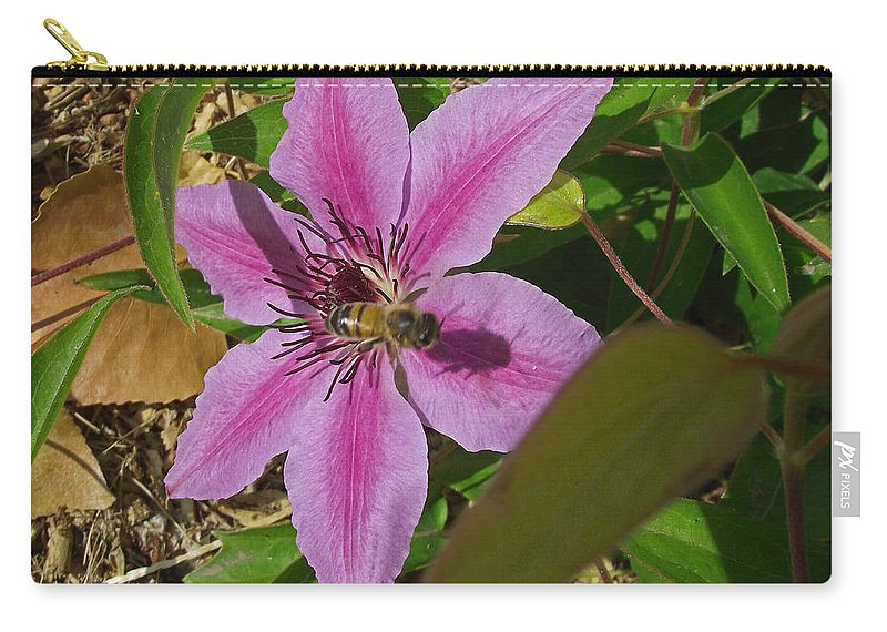 Honey Bee Carry-all Pouch featuring the photograph Bee My Clematis by Mike and Sharon Mathews