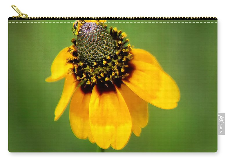 Bee Carry-all Pouch featuring the photograph Bee My Coneflower by Lucy VanSwearingen
